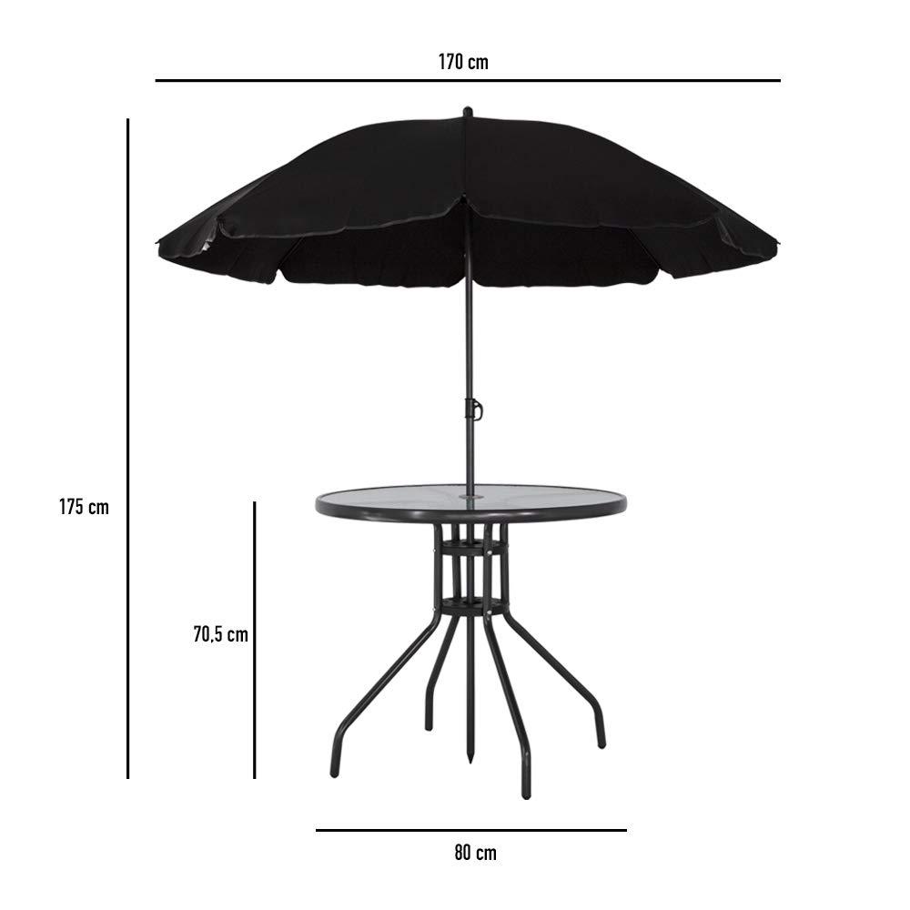 + Ombrellone + 4 sedie 62x53x90 Set per Mangiare in Giardino con ombrellone: Tavolo Aktive 61014 80Dx70 180D
