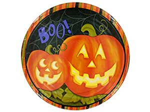 8-Count Round Paper Dinner Plates, Halloween Jolly Jack-O-Lanterns