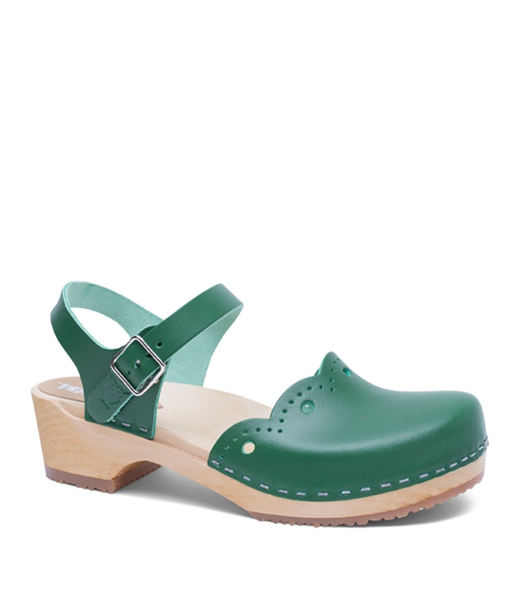 Sandgrens Swedish Wooden Low Heel Clog Sandals For Women | Milan In Strong Green, Size US 10 EU 40