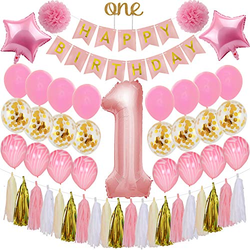 First Birthday 18' Foil Balloon - Baby Girl 1st Birthday Balloon Decorations - Pink and Gold Birthday Party Supplies with Happy Birthday Banner, Large 1 Balloon, One' Cake Topper, Foil and Latex Balloons, Pom Poms, Tassel TD040