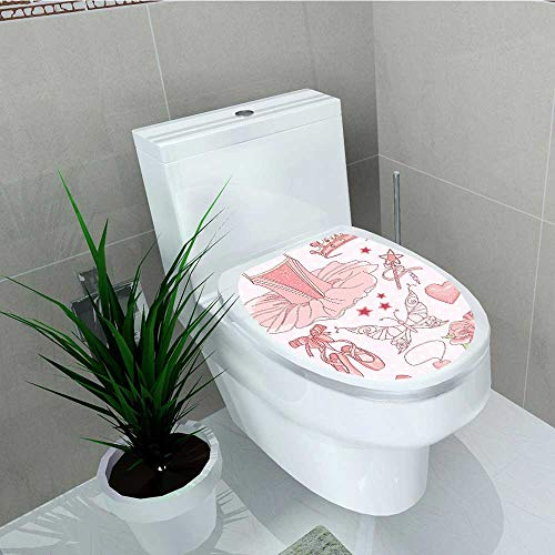 Philip C. Williams Toilet Seat Wall Stickers Paper Teen Set of Princess Ballerina Classic Costume Shoes Tiara Roses Pink Decals DIY Decoration W13 x -