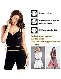 + MD - Body sin costuras para mujer, con control de abdomen, cintura alta, busto abierto, medio-muslo, moldeador de cuerpo completo para vestidos
