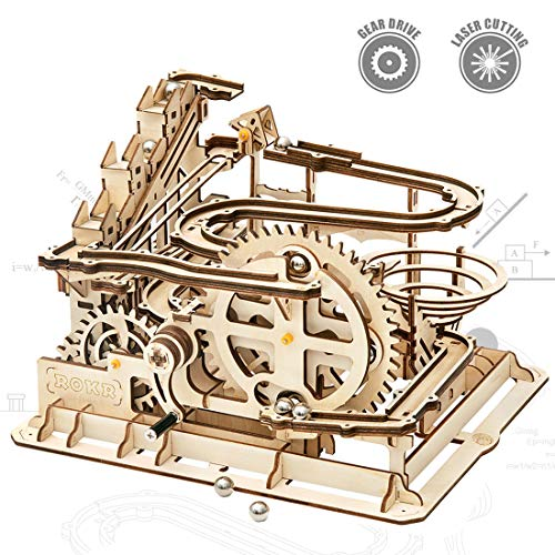 Marble Building Kit - ROKR Mechanical 3D Wooden Puzzle Model Kit Adult Craft Set Educational Toy Building Engineering Set Christmas/Birthday/Thanksgiving Day Gift for Adults Boys Kids Age 14+(LG501-Waterwheel Coaster)
