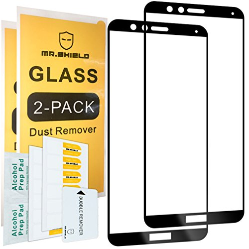 Price comparison product image [2-PACK]-Mr Shield For Huawei Honor 7X [Tempered Glass] [Full Cover] [Black] Screen Protector with Lifetime Replacement Warranty