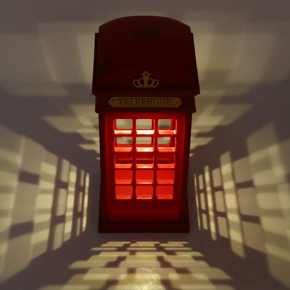 Desk Light for Students Retro London LED Telephone Booth Dimmable Touch Night Lamp Home Decor Telephone Booth Shape