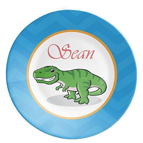 Personalized Dinosaur Plate - Blue Stripe, Dino Dinner Plate, Green Dinosaur Melamine Plate, You Pick Dino - Kids Personalized Gift under 25