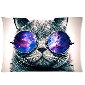 Galaxy Hipster Cat 20X30 Two Sides Custom Cotton & Polyester Pillow Case Cover Cushion Cover Model: CHH-0101?Build-to-Order?