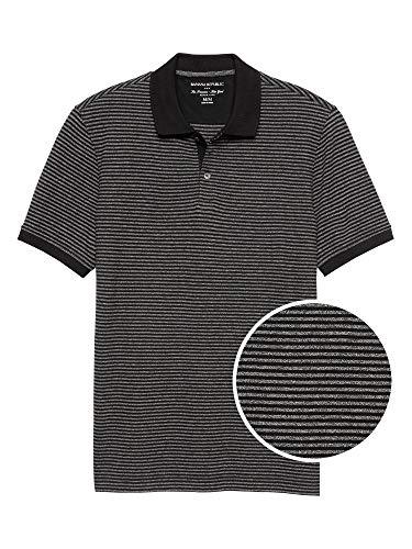 - Banana Republic Mens Mini Stripe Pique Polo Black Stripe (XL)