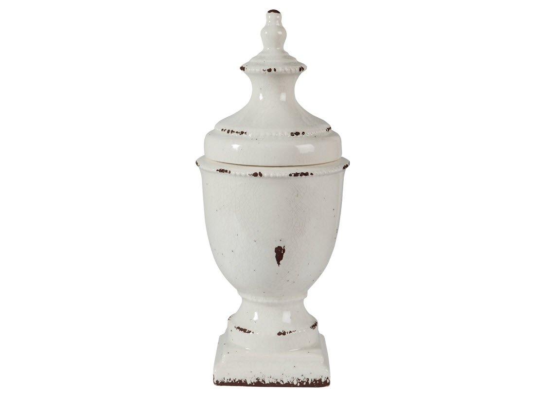 """Signature Design by Ashley A2000274 Devorit Jar, 9"""" x 9"""" x 20"""", Antique White"""