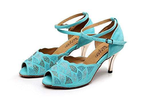 LightBlue Latin Samba Jazz heeled8 JSHOE Sandalias Salsa Our37 EU36 De Mujer 5 Modern 5cm Altos Chacha Zapatos De UK4 Satin Cristales Baile Tango Shoes Tacones Sparking 6qR7HwXq