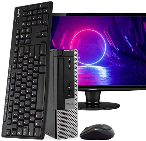 "Dell OptiPlex 7010 Ultra Small Space Saving PC Desktop Computer, Intel i5, 8GB RAM 500GB HDD, Windows 10 Pro, 24"" LCD Monitor, New 16GB Flash Drive, Wireless Keyboard & Mouse, DVD, WiFi (Renewed)"