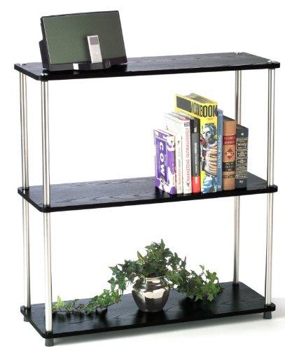 NEW Contemporary Woodgrain Finish Modern Black 3-Tier Bookshelf Tower Stand
