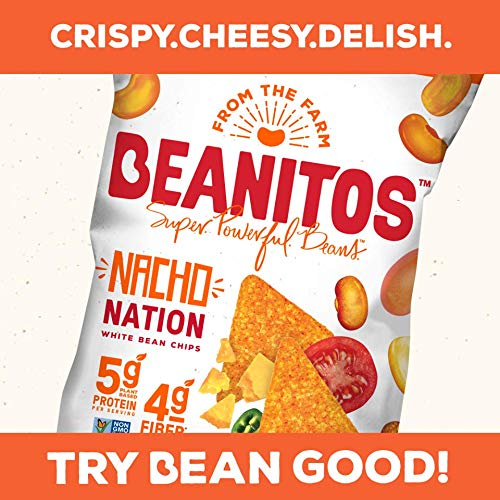 Beanitos Nacho Nation White Bean Chips Plant Based Protein Good Source Fiber Gluten Free Non-GMO Corn Free Tortilla Chip Snack 4.5 Ounce, Pack of 6 (Packaging may vary)