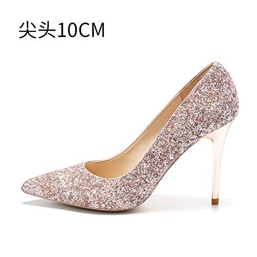 noche de Tacones zapatos compañeros HUAIHAIZ cristal novia botas 10CM zapatos A alto tacón La de dama mujer boda de zapatos bodas de pink ZwwdqCY