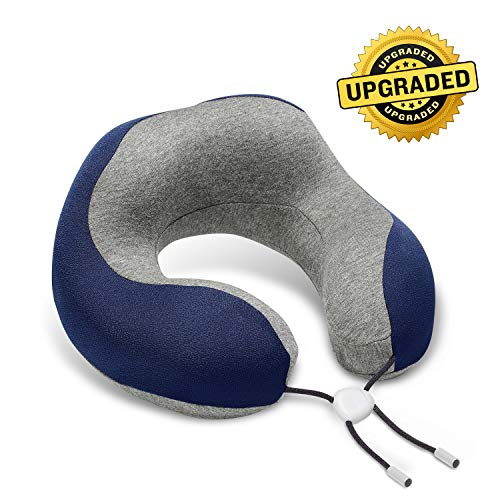 Phixnozar Travel Pillow 100% Memory Foam -Neck Pillow, Ideal for Airplane Travel - Comfortable and Lightweight - Improved Support Design - Machine Washable Cover - Must-Have Travel Accessories (Blue)