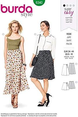 Burda Style 6340 - Patrón de costura para falda de mujer (tallas ...