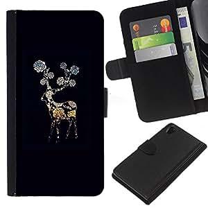 KingStore / Leather Etui en cuir / Sony Xperia Z2 D6502 / Negro Noche Flor Gerbera