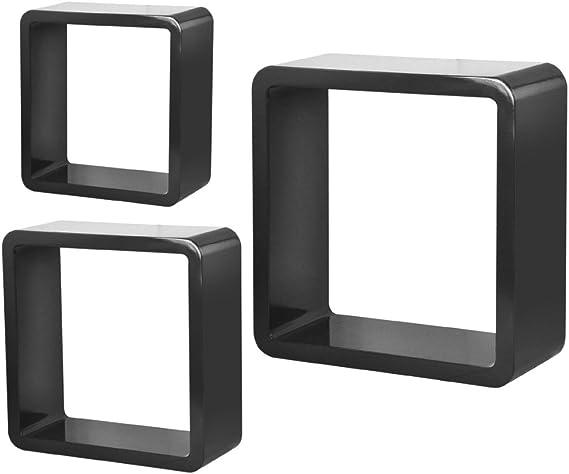 Topro Retro cuadrado redondeado flotante cubo pared estantes de almacenamiento paquete de 3 piezas Color negro: Amazon.es: Hogar