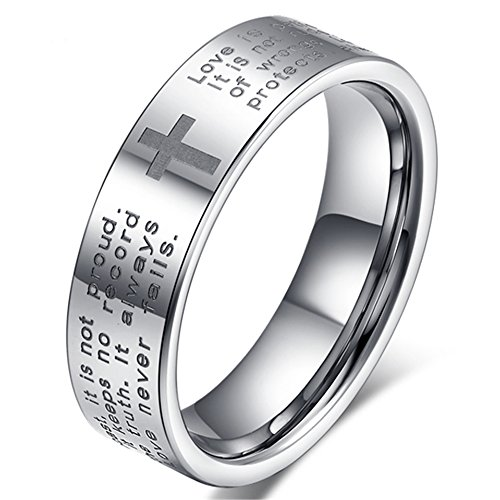 Womens 4mm Tungsten Carbide White Ring Engraved English Bible Verses About Love Cross Band For Her Size 9 (Tungsten 4 Crosses Carbide)