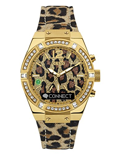 GUESS Women's CONNECT Smartwatch with Amazon Alexa and Genuine Leather Strap Buckle - iOS and Android Compatible -  Gold by GUESS