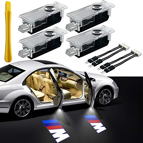 Car Door Light Logo Projector Lighting, 4 Pcs LED Car Ghost Shadow Welcome Lights East Installtion for BMW M 3 5 6 7 X Z GT Mini Series