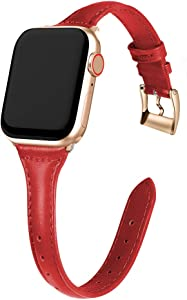 MARGE PLUS Compatible Apple Watch Band 38mm 40mm Women, Slim Genuine Leather Watch Strap Replacement for iWatch SE Series 6 5 4 3 2 1, (Bright Red Band paired with Rose Gold Adapter)