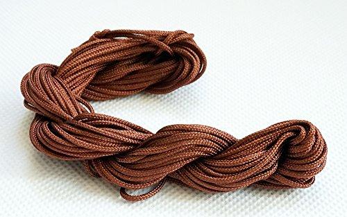 BROWN 1.5mm Chinese Knot Nylon Braided Cord Shamballa Macrame Beading Kumihimo String, 16-Yard (Pack of 2)