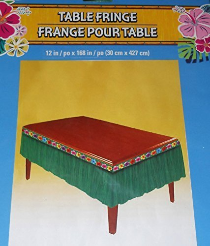 Table Fringe - Green and Flowered Table Skirt - 12 inches x 168 inches (Flowered Skirt Table)