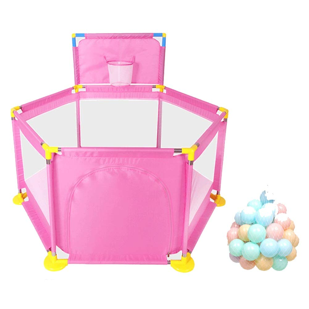 Pink With balls Baby Playpen Portable Kids Safety Play Center Yard Home Indoor Fence Anti-Fall Play Pen (color   Pink, Size   with mat)
