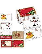 500 Stks Kerst Gift Tag Stickers Kerst Zelfklevende Etiketten Gift Naam Tag Stickers Xmas Label Stickers voor Envelop met Kerstman Sneeuwman Kerstboom Krans Kerstcadeaus Gift Labels
