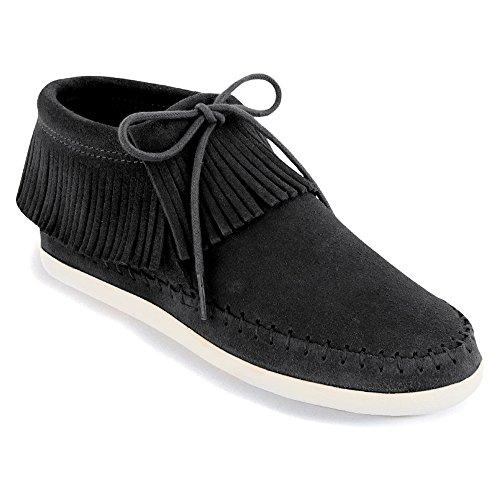 Moccasin Venice Fringe Boots Minnetonka Black Tassel Womens 0UqxUBRI