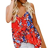 Women Sleeveless Blouse Summer Button Down Casual V Neck Tank Top Floral Print Shirt (S, Red)