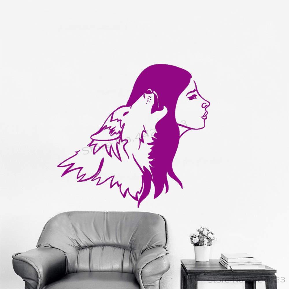xingbuxin Tatuajes de Pared Creativo Lobo y Mujer Silueta Vinilo ...