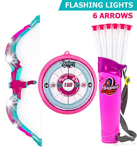 Toysery Bow and Arrow for Kids with LED Flash Lights - Archery Bow with 6 Suction Cups Arrows, Target, and Quiver - Practice Outdoor Toys for Children Above 6 Years of Age, Pink -