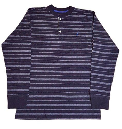 Nautica Boys Long Sleeve Stripe Henley Large (14/16), Sport Navy