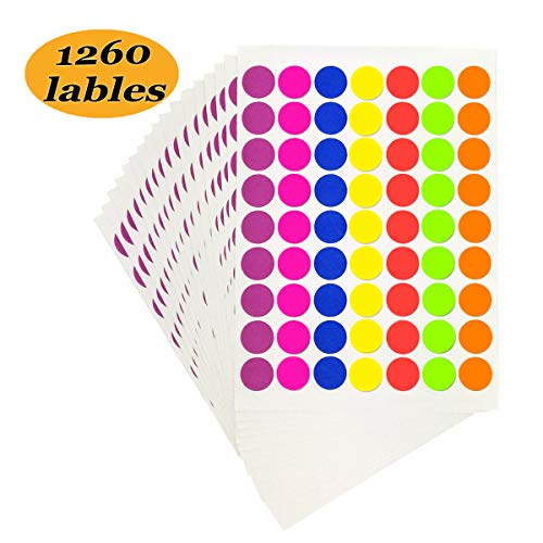 (Pack of 1260 1-inch Round Color Coding Labels Circle Dot Stickers,7 Bright Neon Colors,Print or Write 8.5