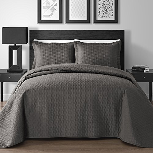 Extra Lightweight 3 Piece King & Queen Home Thermosonic Embossed Frame Coverlet Bedspread Set (Full/Queen, Gray)