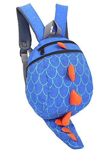 ZHUANNIAN Kids Toddlers Dinosaur Backpack with Safety Leash for Boys Girls(Blue) ()