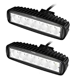 Miady 6 Inch LED Light Bar 18W Flood Beam Off Road lights for SUV, ATV, Jeep, 4x4, Pickup Truck, Boat (Pack of 2)