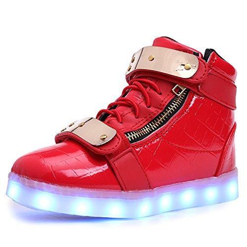 UBELLA Children Boys Girls High Top USB Charging Metal LED Sneakers,12.5 M US Little Kid,Red ()