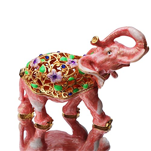 - Waltz&F pink elephant Hinged Trinket Box Bejeweled Hand-painted Ring Holder Animal Figurine Collectible