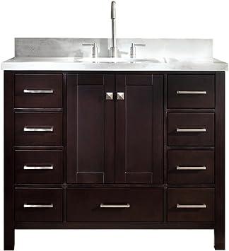 Amazon Com Ariel Cambridge A043s Vo Esp 43 Inch Single Oval Sink Solid Wood Espresso Bathroom Vanity With 1 5 Inch Edge White Carrara Marble Countertop Kitchen Dining