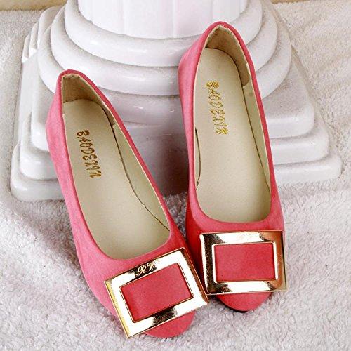 carriera comodità pelle LvYuan scarpe da amp; ginnastica amp; casual camminate pigro tacco casual CN41 scarpe scamosciata Scarpe ufficio mocassini da Pink donna moda piatto tvrfw0qv