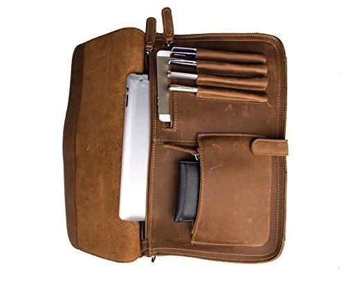 Jsix Herren Aktentasche Umhängetasche Ledertasche Braun (Brown) Brown DWREvsgte