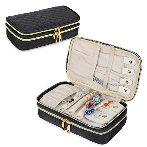 Teamoy Double Layer Jewelry Organizer, Quilted Jewelry Travel Case for Rings, Necklaces, Earrings, Bracelets and More, Black-Bag - Case Jewelry