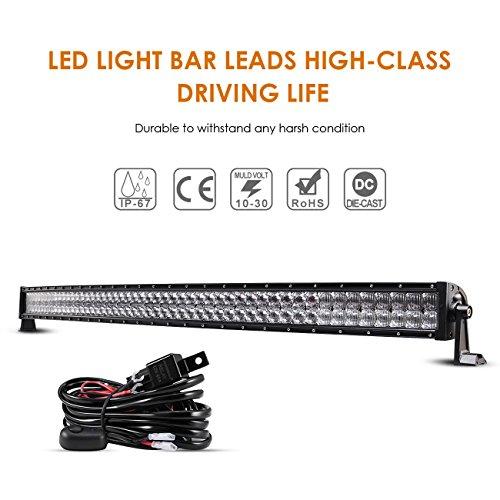 Auxbeam 52 Inch LED Light Bar Curved 300W LED Work Light Off