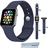 Apple Watch Band , Honest kin Soft Silicone Replacement Sport Band for 42mm Apple Watch [5.5-8.3 Inch Wrist] [3 Pieces of Bands Included for 2 Lengths] (Midninght blue S/M/L 42mm)