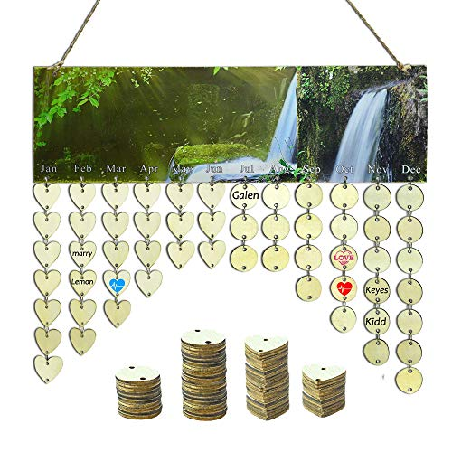 YuQi [with 100PCS Wooden Disks] DIY Wooden Family Birthday Broad Reminder, Wood Family&Friends Calendars Hanging Plaques Home Decor (50 Pcs Heart Discs + 50 Pcs Round Discs) (Waterfall)