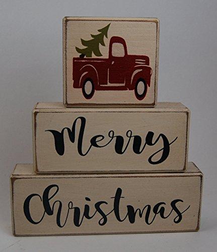 Ready to Ship! NEW Farmhouse Merry Christmas Vintage Truck Christmas Tree - Primitive Country Wood Stacking Sign Blocks Seasonal Christmas Winter Snowman Home Decor -