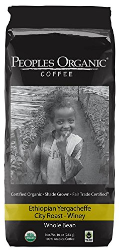 People's Organic Coffee, Ethiopian Yirgacheffe, City Roast, Whole Bean - 10 Ounce